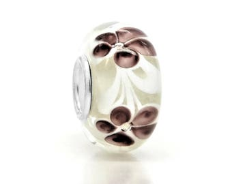White floral charm with pretty brown flowers inside width of 4mm, stainless steel, brown petals, black gift box purple charm bag included