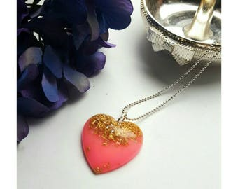 Pink and gold/silver leaf resin pendant with ball chain
