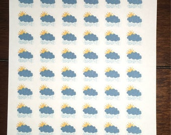 Partly Cloudy and Rainy Weather Stickers
