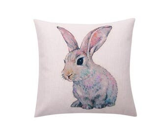 Easter rabbit throw pillow covers Bunny rabbit decorative pillow case Watercolor Rabbit cushion cover Bunny cushion case home decor 18x18