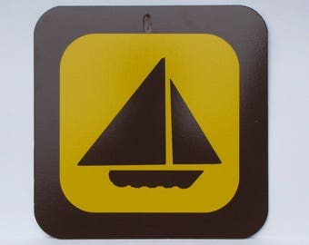 """Nostalgic Provincial Park / State sign - 12"""" square - New Old Stock - Never Installed - SAILBOAT - FREE SHIPPING"""
