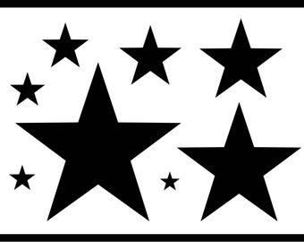 Stars Stencil, Various Sizes, Reusable, 8 Various Sizes Stars, Arts, Crafts, Cards, Decoration, DIY, Templates, Quick Dispatch, 190 Micron