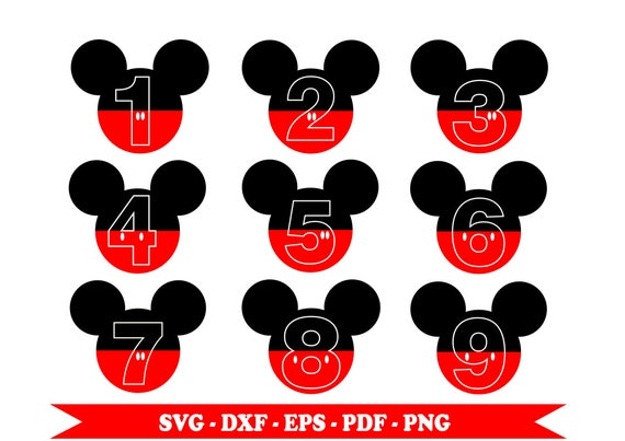 Disney Mickey Mouse Numbers Svg Eps Svg Party Numbers
