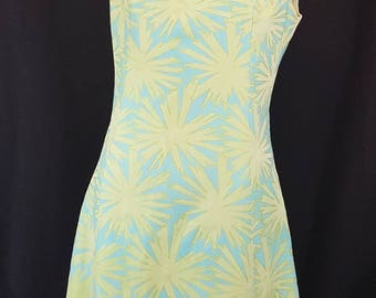 Vintage 60s Mid Century Mod Shiny Starburst Print 2 Tone Blue and Green Sleeveless Cocktail Dress