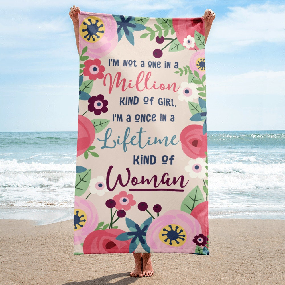 Feminine Towel, Floral Beach Towel, Floral Bath Towel, Bridesmaid ...