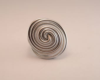 Silver Aluminum wire spiral ring