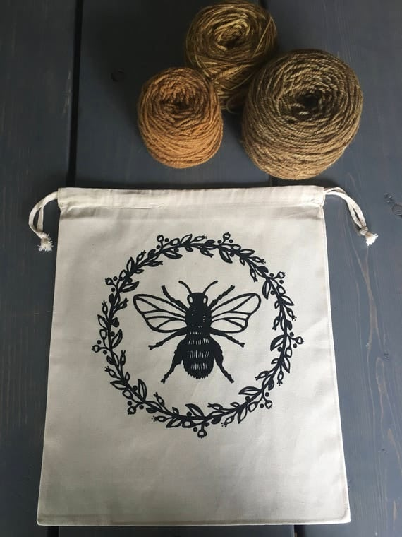 Hand Printed Cotton Drawstring Project Bag- Bee