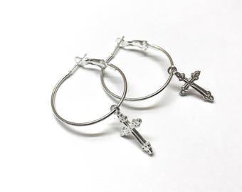 Cross Hoop Earrings in Silver or Gold