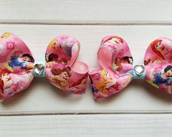 Disney Princess Pigtail Bows/Matching Disney Princess Hair Bows/Disney Princess Hair Bows/Princess Hair Bows/Princess Hair Clips
