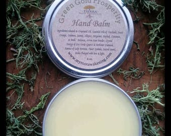 """Green Gold Prosperity Hand Balm - with Oro Verde Quartz &  Herkimer Diamond - """"Are you open to receiving?"""""""