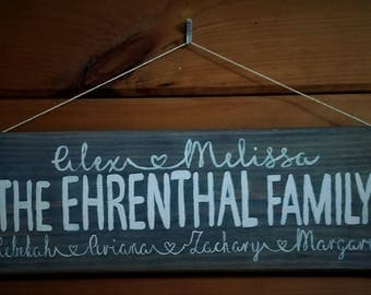 Family name sign to hang on front porch-anniversary gift-handmade decor-front door decor-home decor-wall decor-housewarming gift-friend gift