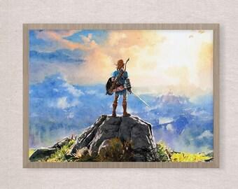 Breath of the Wild, Legend of Zelda game  Art poster , watercolor poster, game poster Zelda