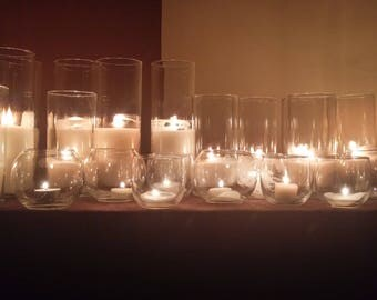 Glass Cylinder Vases and Candles (**Set of Three)