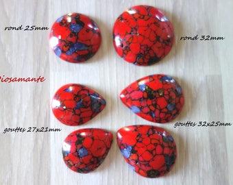 Polymer imitation red Jasper cabochons