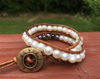 fresh water pearl wrap cord bracelet