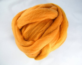 Mustard Yellow Merino Roving - 21.5 Micron - Next to Skin Softness - Vibrant, Rich Colour