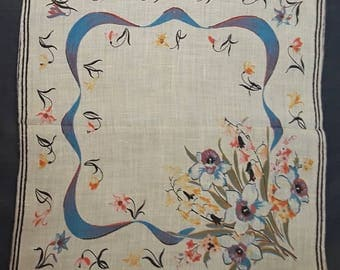 5 Dollars Free Shipping to U.S. Pretty Vintage 1940s Floral Ladies Hankie