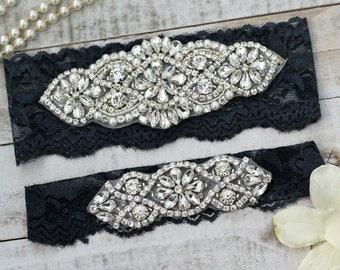 Navy Bridal Garter Set NO SLIP grip vintage rhinestones, pearl and rhinestone garter set, Something Blue