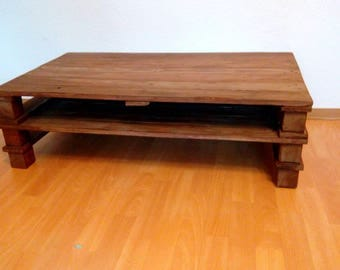 Upcycling coffee table, varnished Walnut color, RGB LED light with remote control
