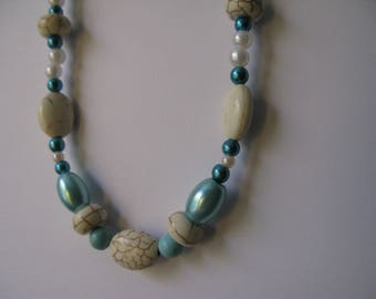 blue and white magnesite  beaded necklace