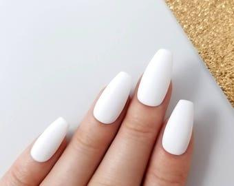 matte fake nails etsy. Black Bedroom Furniture Sets. Home Design Ideas