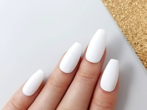 matte white press on nails reusable manicure any shape. Black Bedroom Furniture Sets. Home Design Ideas