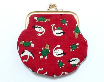 Crane / Turtle Coin Purse / Red & Gold
