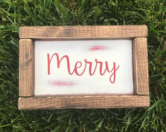 Red Christmas merry wood painted sign. Christmas decor. Holiday decor. Home decor. Christmas signs. Holiday signs.