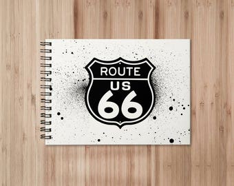 Route 66 Notebook/Sketchbook Wire Bound - Blank pages
