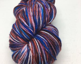 """Free Shipping! """"Diabolical"""" Ready to Ship!Hand dyed on Southern Sock 75/25 SW Merino/Nylon base with 430 yds. Red, blue, & purple"""