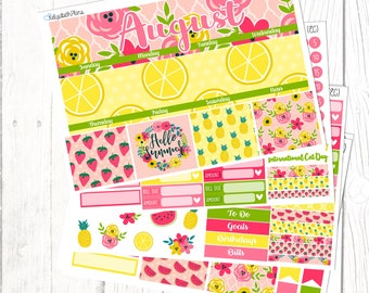 August Monthly Kit | Summer, Fruits, Strawberries, Planner Stickers