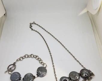 Black and White Stone Necklace & Bracelet Set