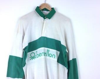MEGA SALE 25% Benetton Rugby Shirt Vintage Benetton Spellout United Colors of Benetton Polo Rugby Shirt Rare YCmBiw3aiO