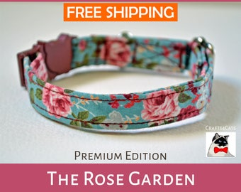Floral cat collar, kitten collar 'The Rose Garden', cat collar breakaway, safety cat collar, cute cat collar, vintage rose cat collar
