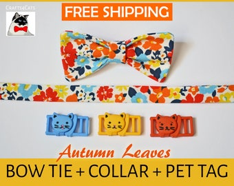 gift bundle cat id tag + breakaway safety collar + bow tie - kitten collar - cat collar