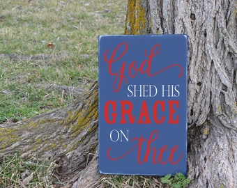 God Shed His Grace on Thee America the Beautiful Patriotic Song Lyrics Vinyl Decal Wood Sign