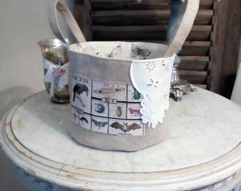 Old English embroidery and linen storage basket