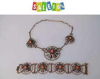 """Rare Collectible vintage jewelry sets 1950s, bracelet and necklace """"Copper and Coral"""""""