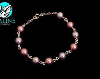 Pearl bracelet Silver 925 pink/grey