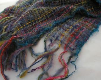 Night city wrap. Dark blue wrap. Mohair/nylon shawl.  Wedding wrap. Mohair scarf. Evening shawl.