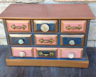 Navy Blue & Dusty Rose Jewelry Box