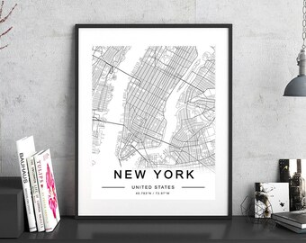 Map of New York, Black and White New York Decor, New York City Map Print, New York Wall Art, New York Map, Modern Print, Minimalist Print