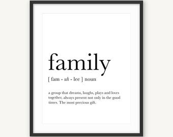 Family wall art, Family definition, Funny definition art, Family print, Definition prints, Affiche definition, Family quotes, Family gifts