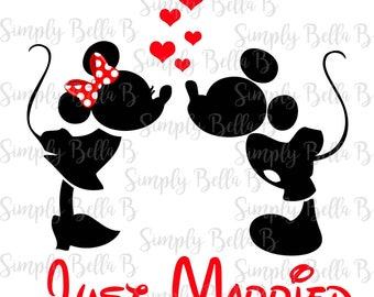 Just Married Mickey Minnie INSTANT DOWNLOAD Digital Iron-On Transfer Design - DIY - Disney Honeymoon - Wedding - Matching Shirts