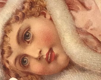 Vintage winterland girl with pink roses die cut