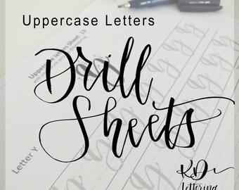 Uppercase Brush Lettering Drill Sheets