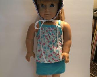 18 inch doll AG  skirt, tank top & sunhat