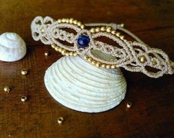 Macramé with stone bracelet agate and brass beads