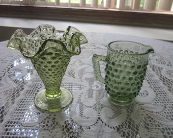 Set of 2 Vintage Fenton Miniature Pieces 1960's Green Hobnail Pattern