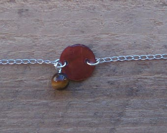 Pearl bracelet and silver plated Tiger eye